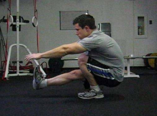 Нижний присед в упражнении