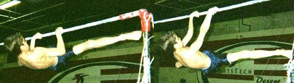 Горизонтальный вис спереди с широко расставленными ногами с подтягиваниями