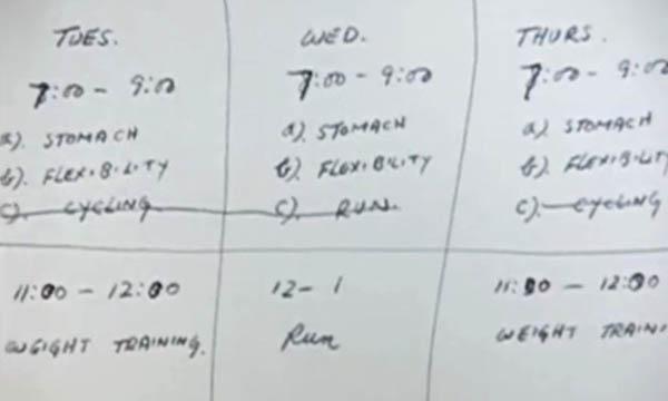 Программа тренировок на 3 дня, составленная Брюсом Ли. Он тренировался 6 дней в неделю.